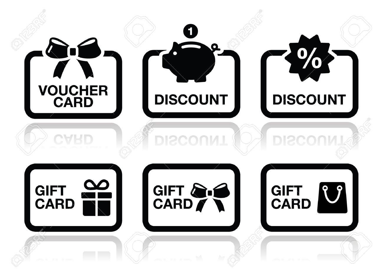 Voucher, gift, discount card vector icons set Stock Vector - 19773511