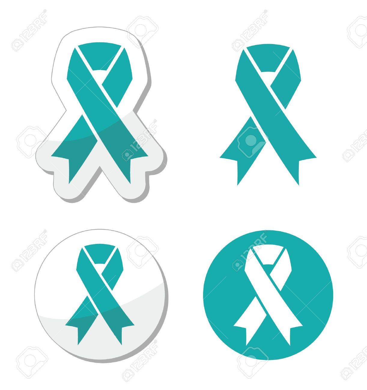 Teal ribbon - ovarian, cervical, and uterine cancers symbol Stock Vector - 20231089