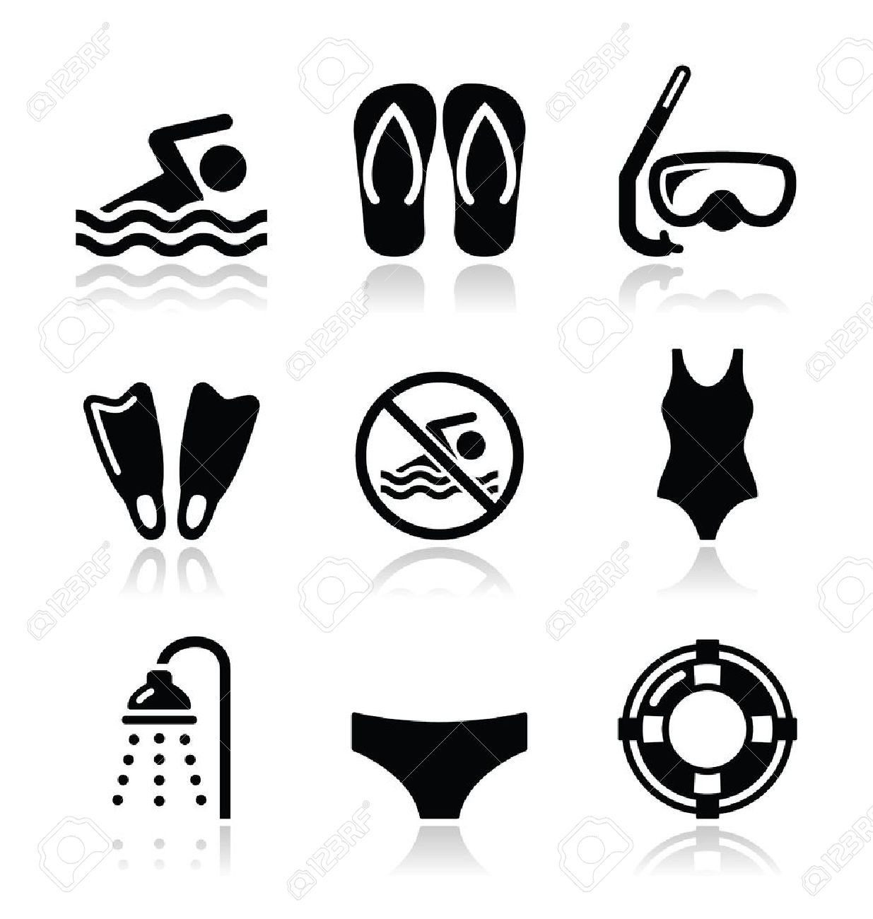 Swimming, Scuba Diving, Sport Vector Icons Set Royalty Free ...