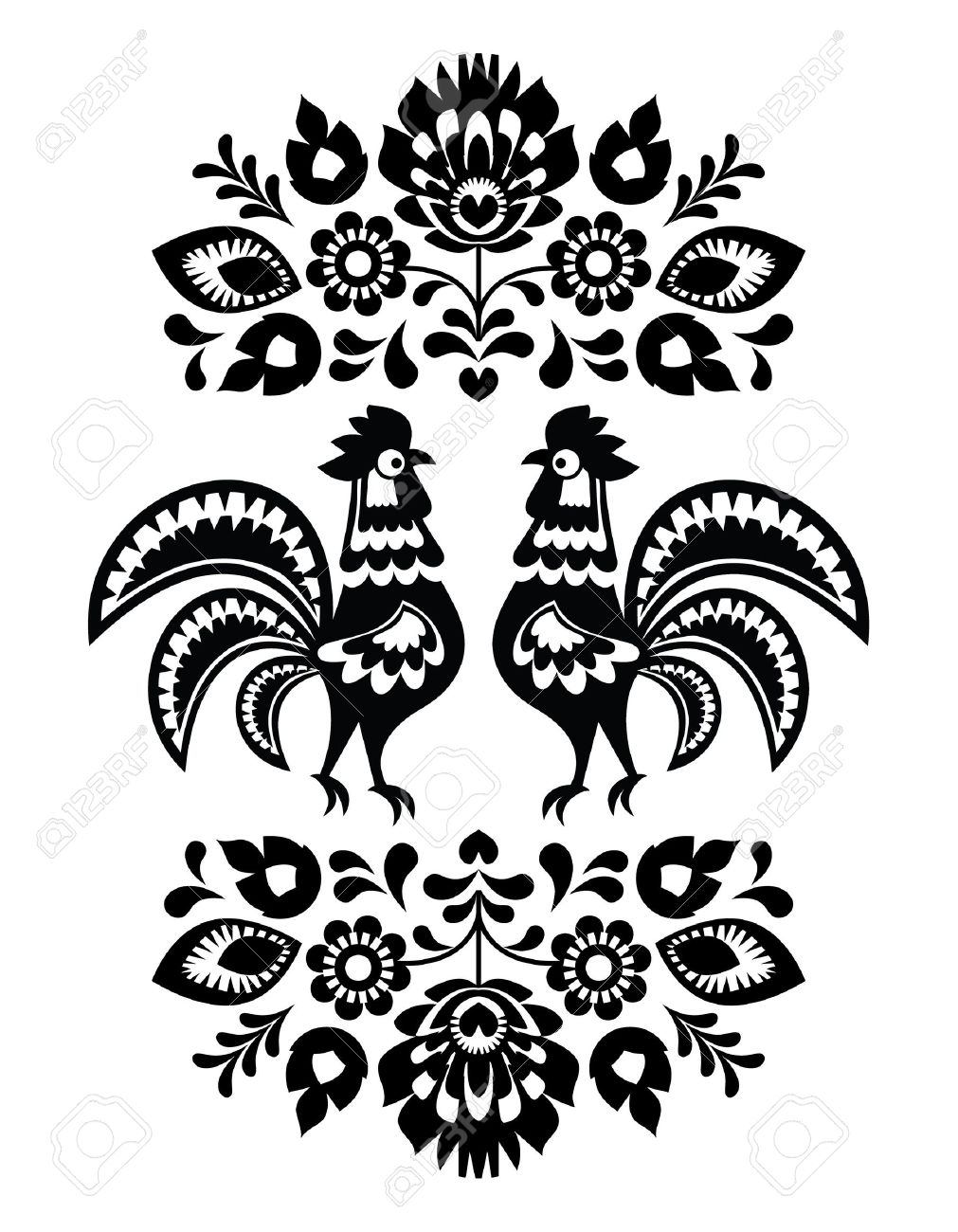 Polish ethnic floral embroidery with roosters in black and white Stock Vector - 20230208