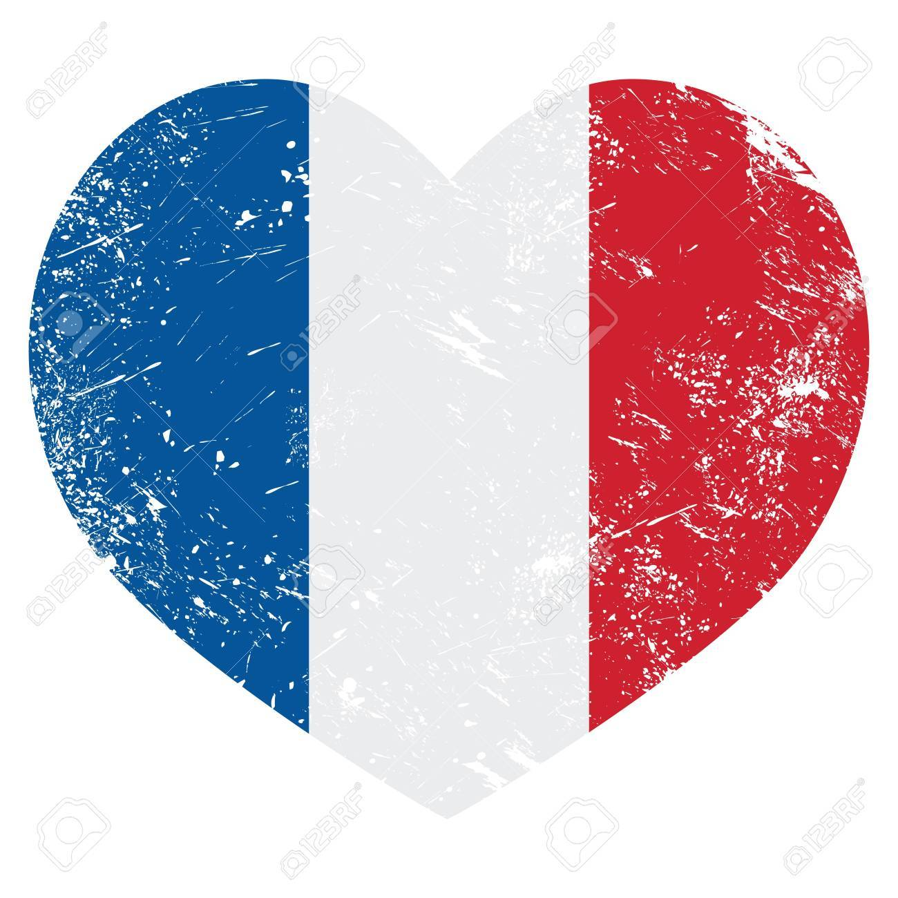 France heart retro flag Stock Vector - 20433464