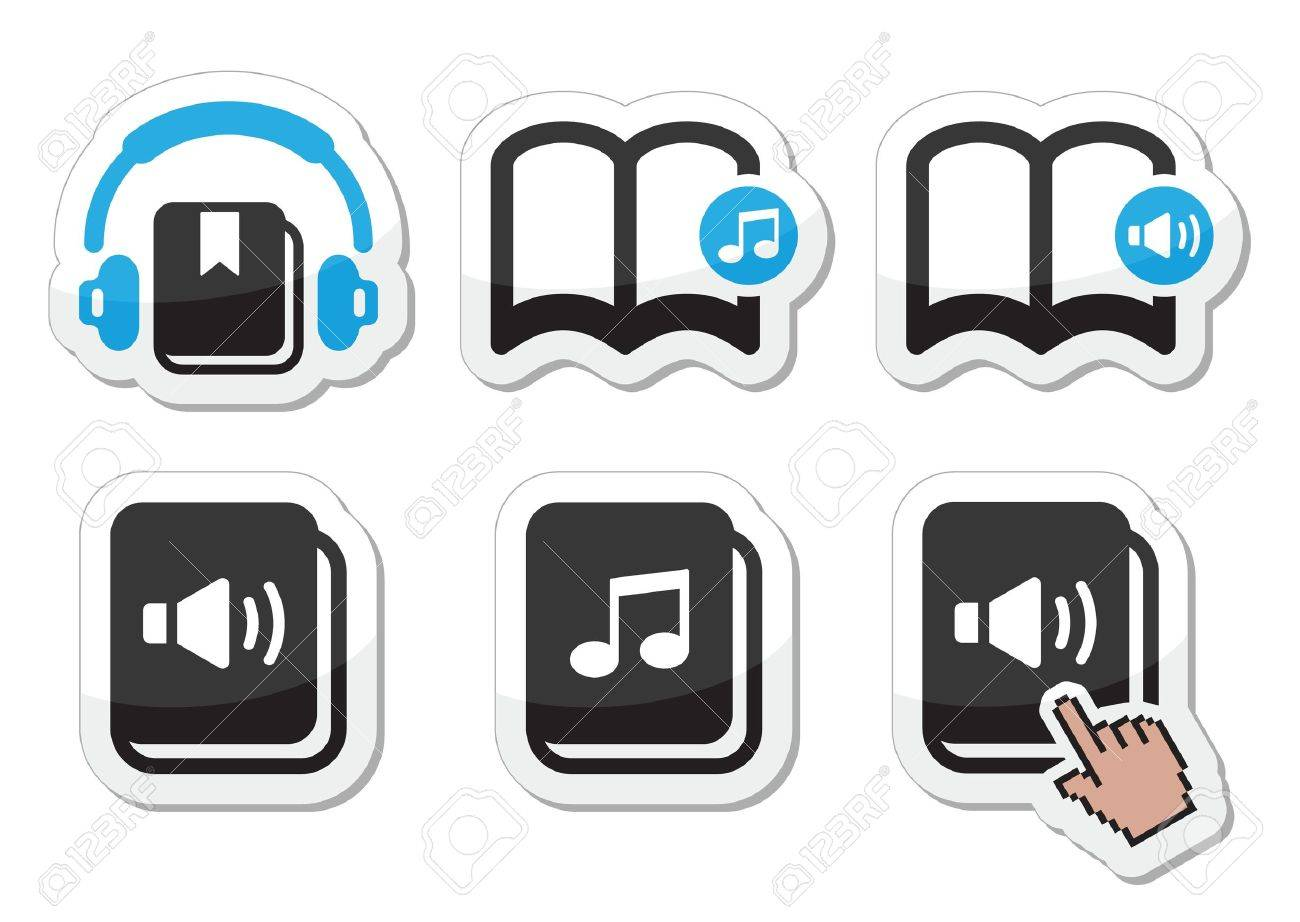 Audiobook vector icons set Stock Vector - 20502342