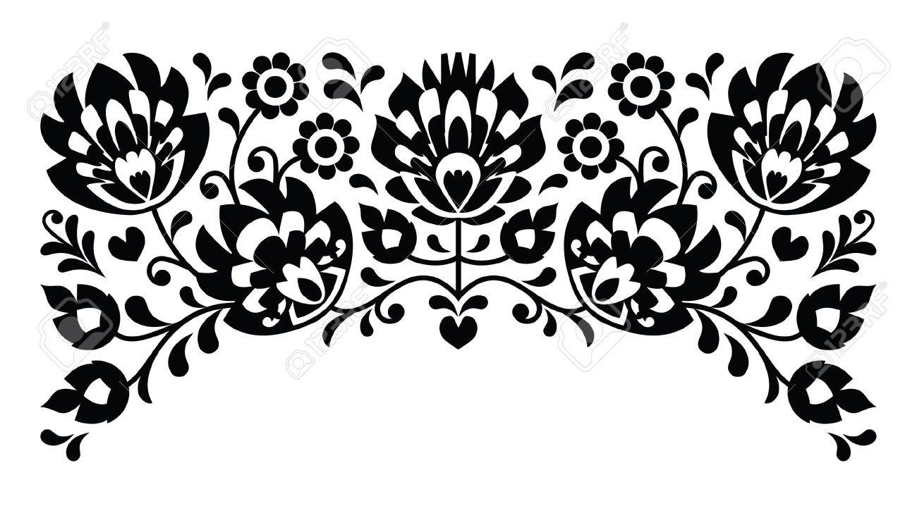 Polish floral folk embroidery black and white pattern Stock Vector - 20668174