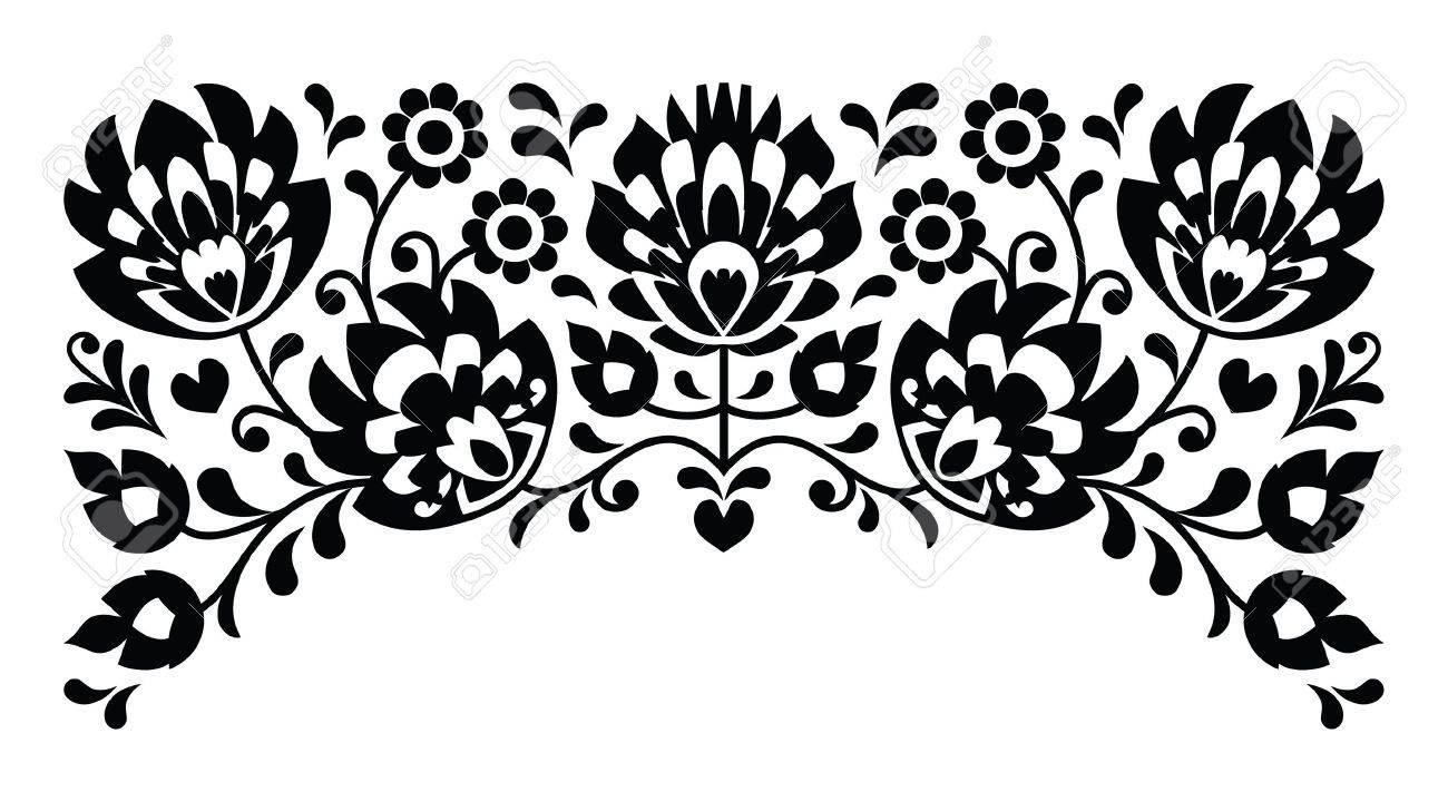 Popular Bordado Patrón Blanco Y Negro Floral Polaco Ilustraciones ...