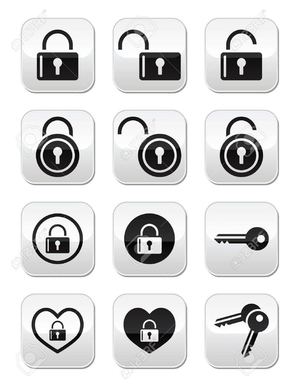 Padlock, key vector buttons set - 21448630