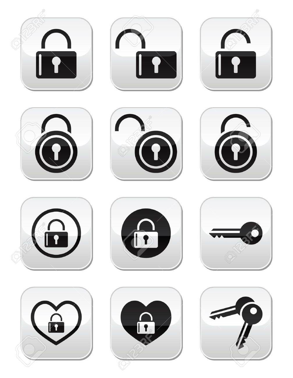 Padlock, key vector buttons set Stock Vector - 21448630