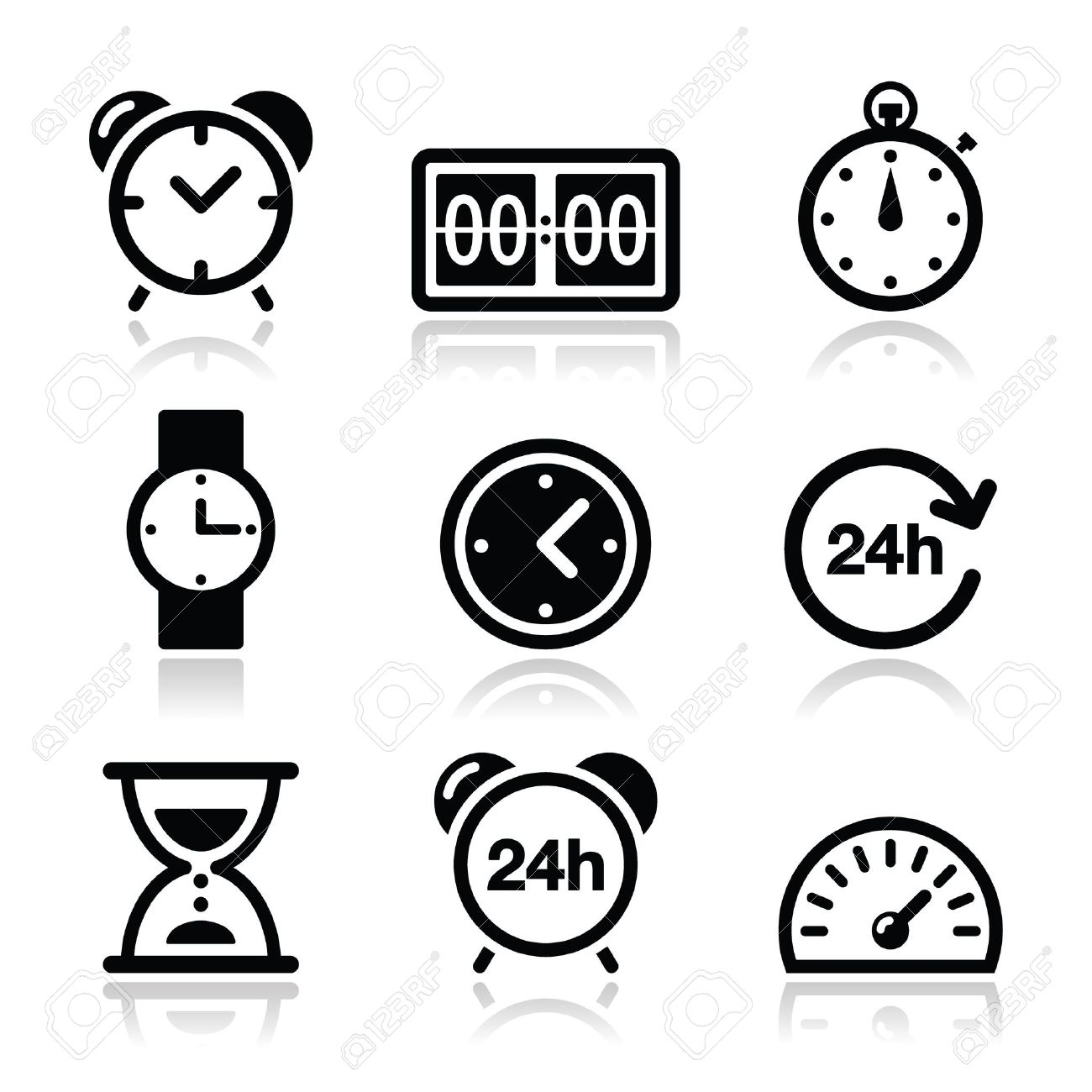 Time, clock vector icons set Stock Vector - 21448633