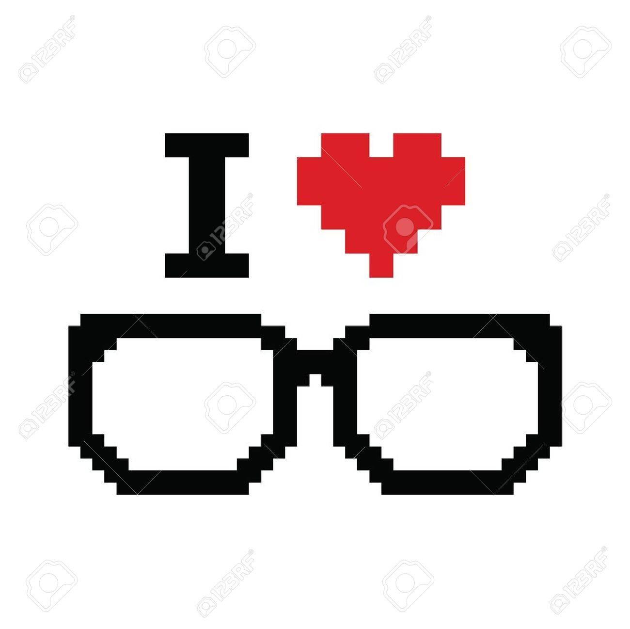 I love geeks pixelated, retro sign Stock Vector - 21448649