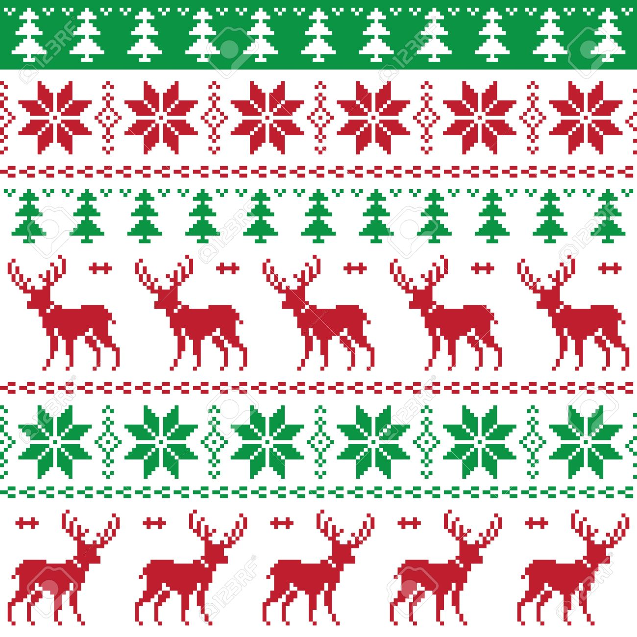 Christmas Tree Pattern.Nordic Seamless Pattern With Deer And Christmas Tree