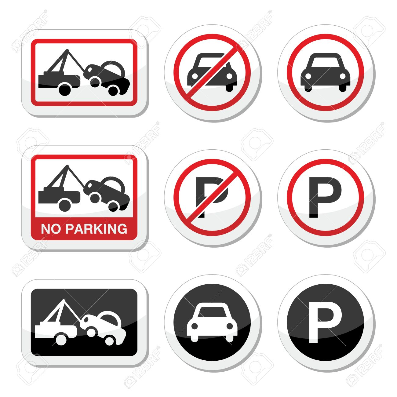No parking, parking forbidden red and black sign Stock Vector - 21773238