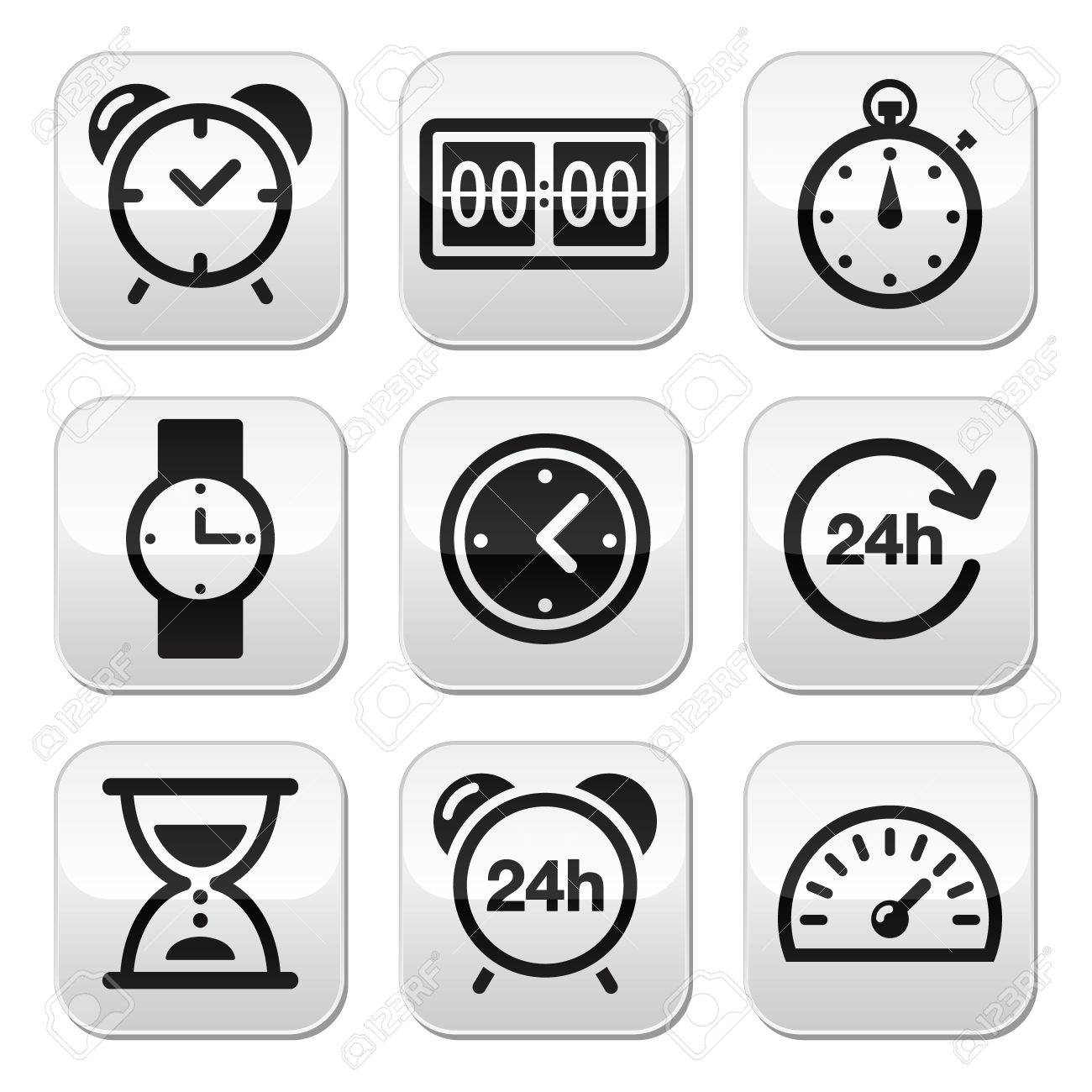 Time, clock buttons set Stock Vector - 22318754
