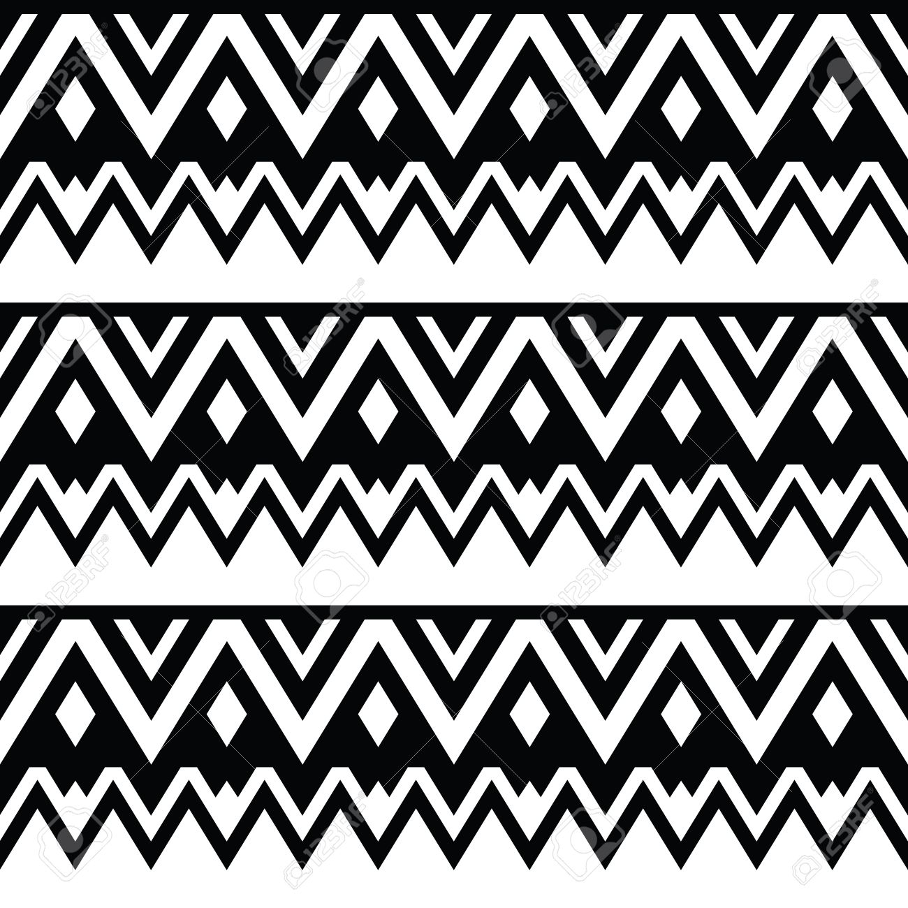 Background geometric mexican patterns seamless vector zigzag maya - Aztec Seamless Pattern Tribal Black And White Background Stock Vector 22778592