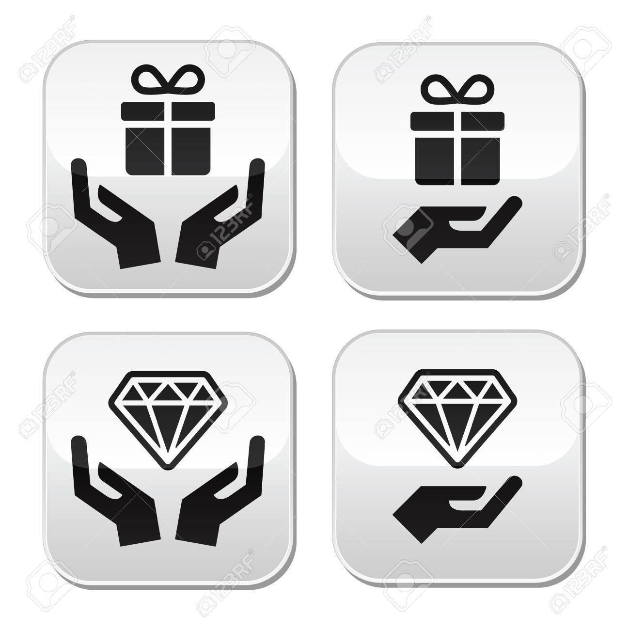Hands with present and diamond buttons set Stock Vector - 22778726