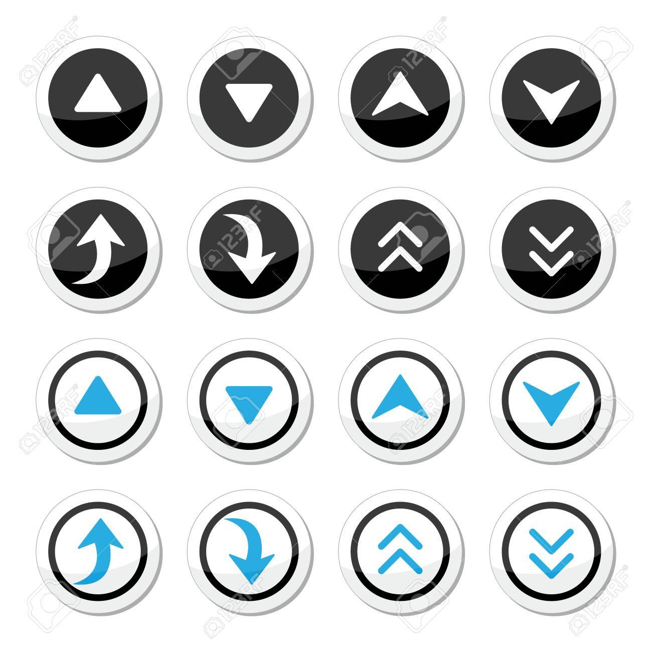 Up and down arrows round icons set Stock Vector - 23084419