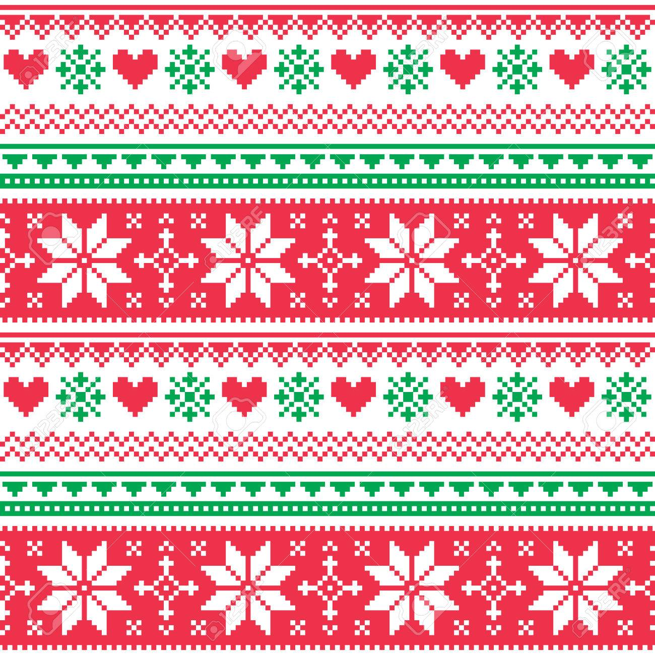 Nordic Seamless Knitted Christmas Red And Green Pattern Royalty ...