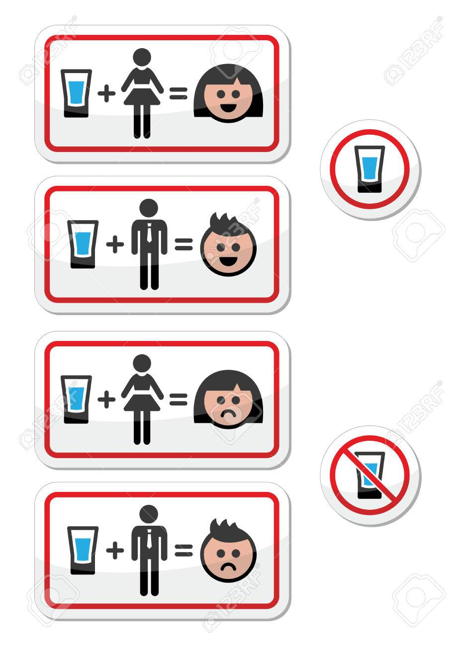 People drinking alcohol - sad and happy face icons set Stock Vector - 23383046