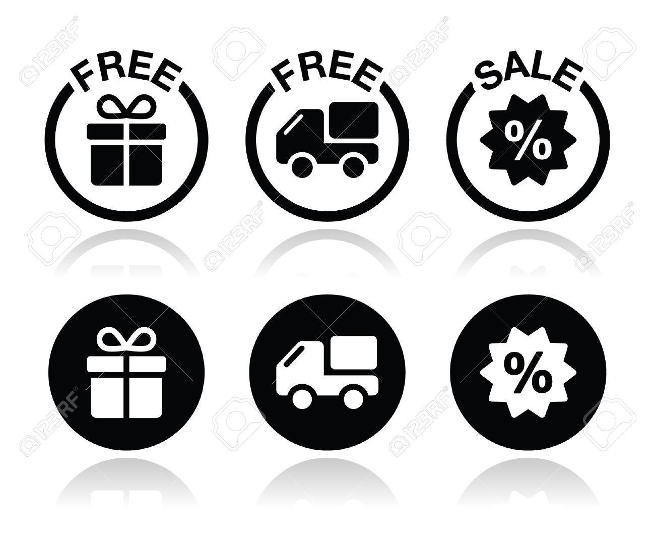 Free gift, free delivery, sale icons set Stock Vector - 23883964