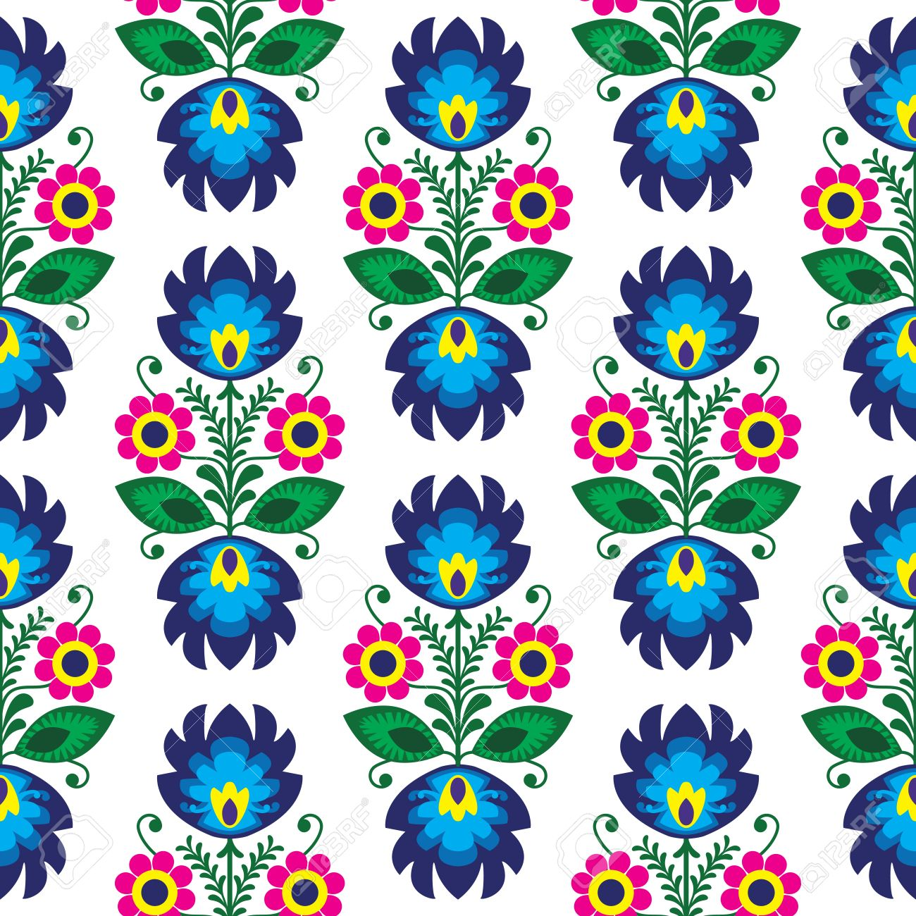 Seamless traditional floral polish pattern - ethnic background Stock Vector - 23884336
