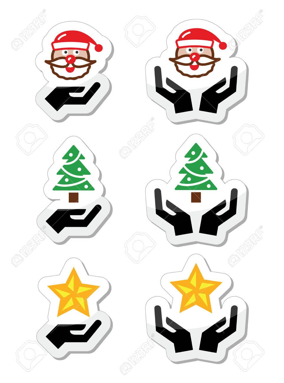Hands with christmas icons - santa claus, tree, star Stock Vector - 23894613