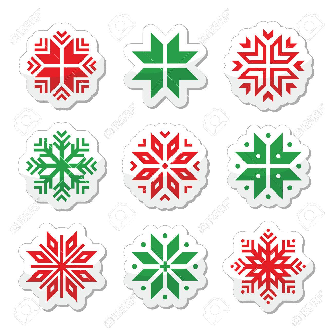 Christmas, winter snowflakes vector icons set Stock Vector - 24026031