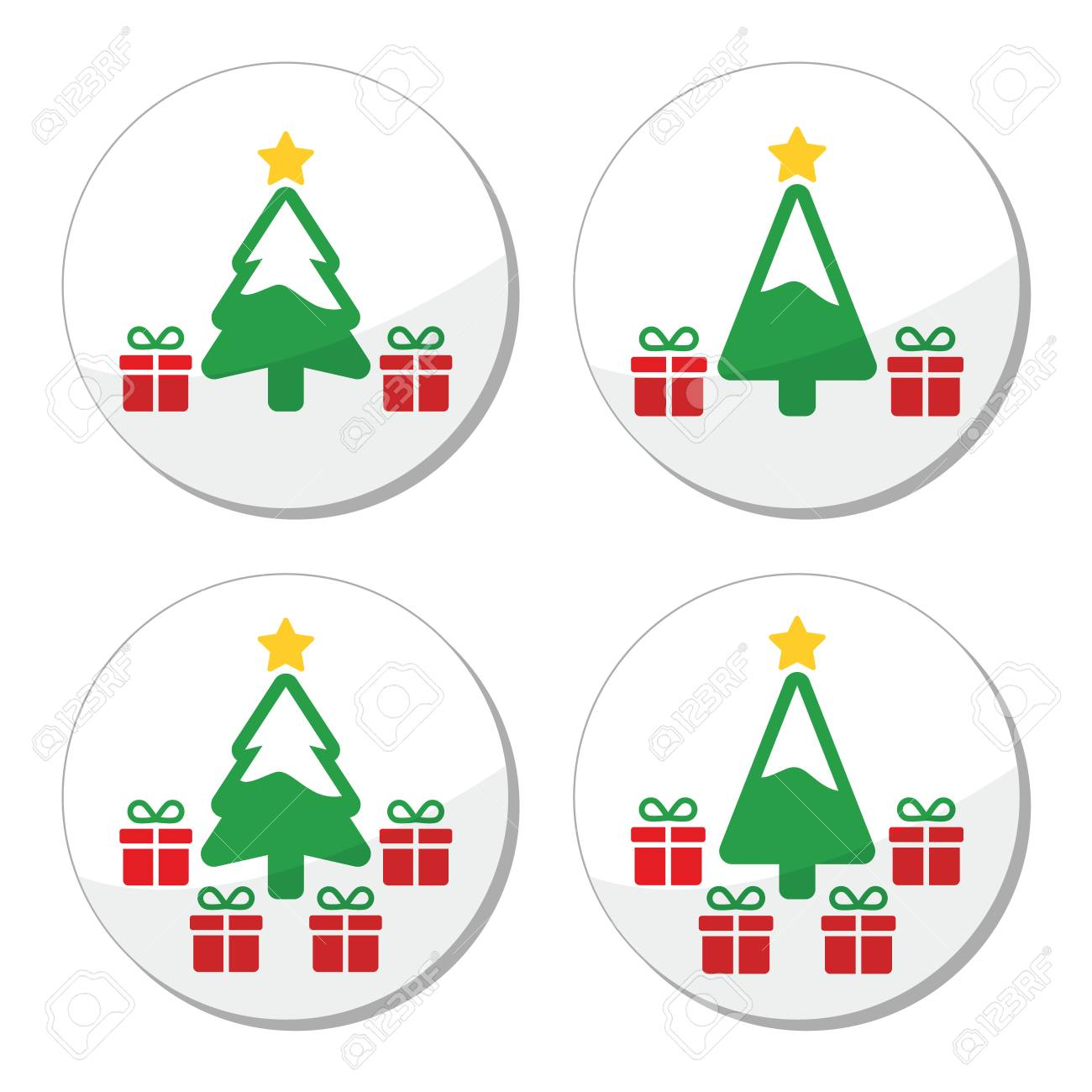 Christmas tree with presents icons set Stock Vector - 24026224