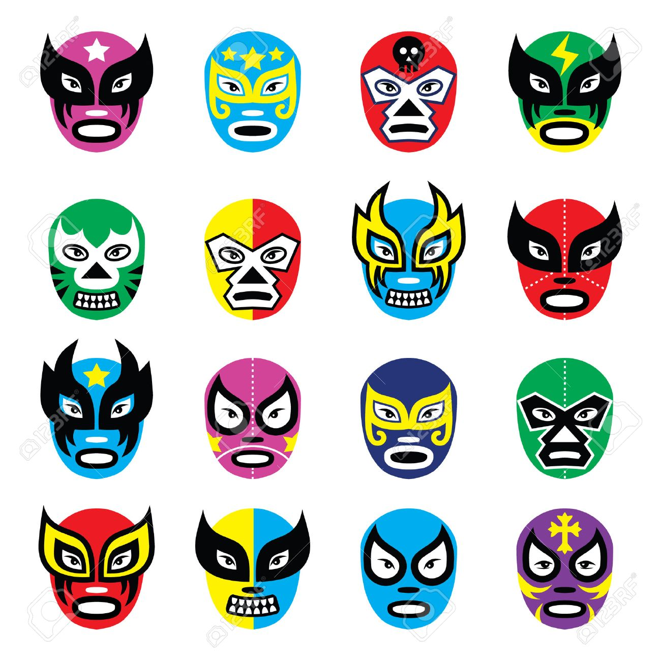 Lucha libre, luchador mexican wrestling masks icons Foto de archivo - 26590831