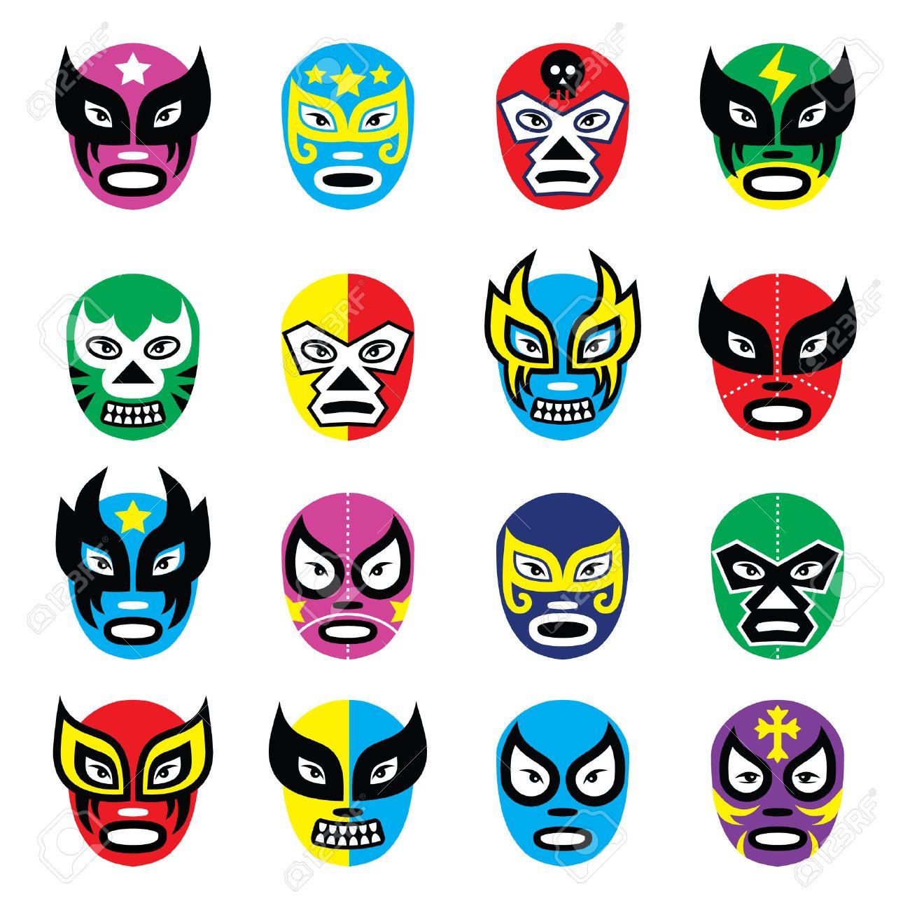 Lucha libre, luchador mexicano máscaras de lucha libre iconos Foto de archivo - 26590831