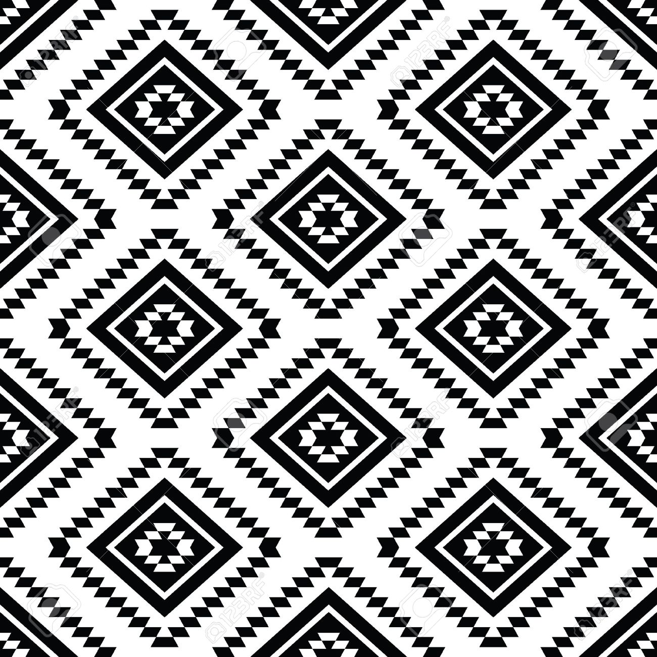 Background geometric mexican patterns seamless vector zigzag maya - Tribal Seamless Pattern Aztec Black And White Background Stock Vector 26660470