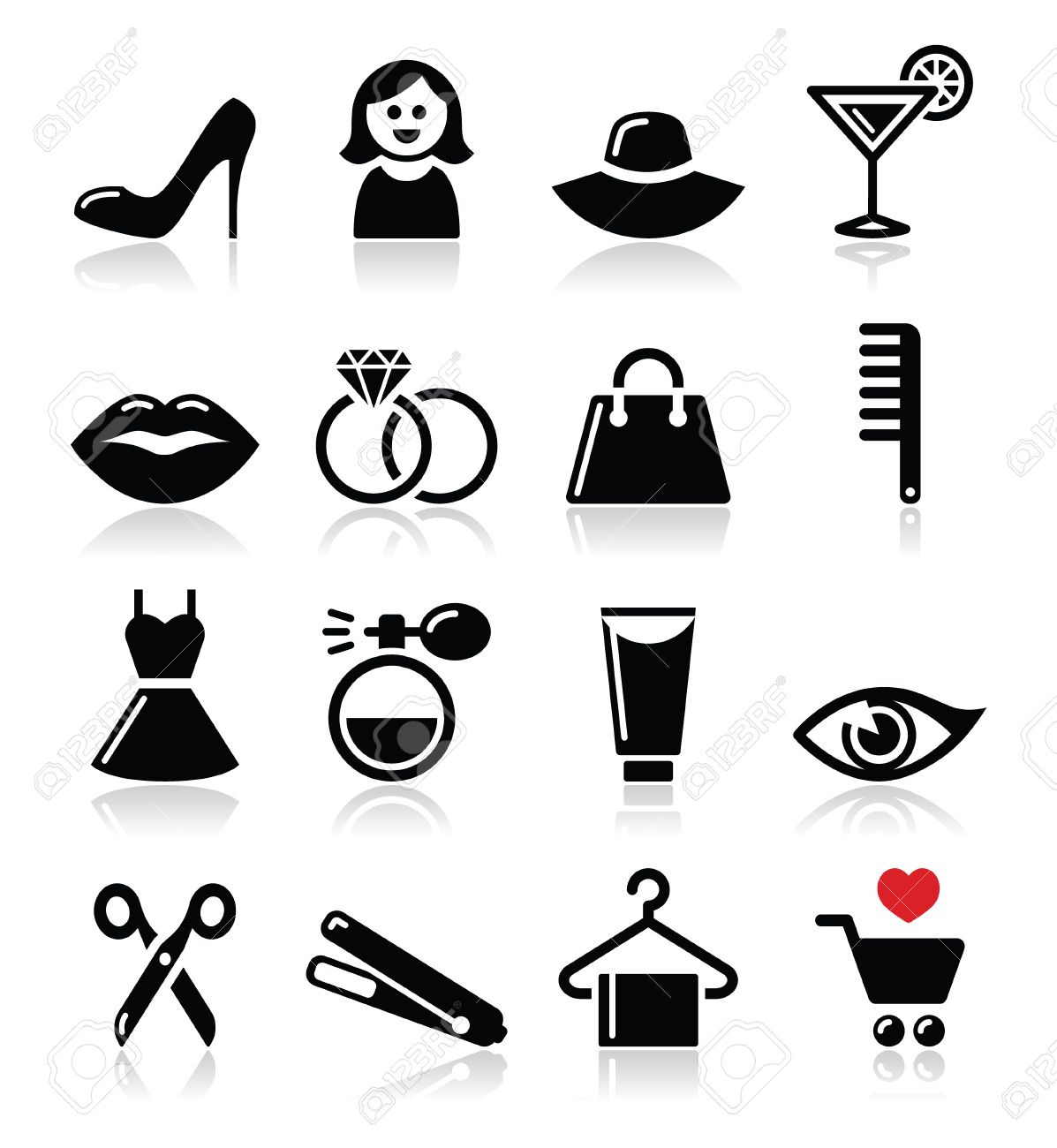 Woman or girl , beauty and fashion vector icons set