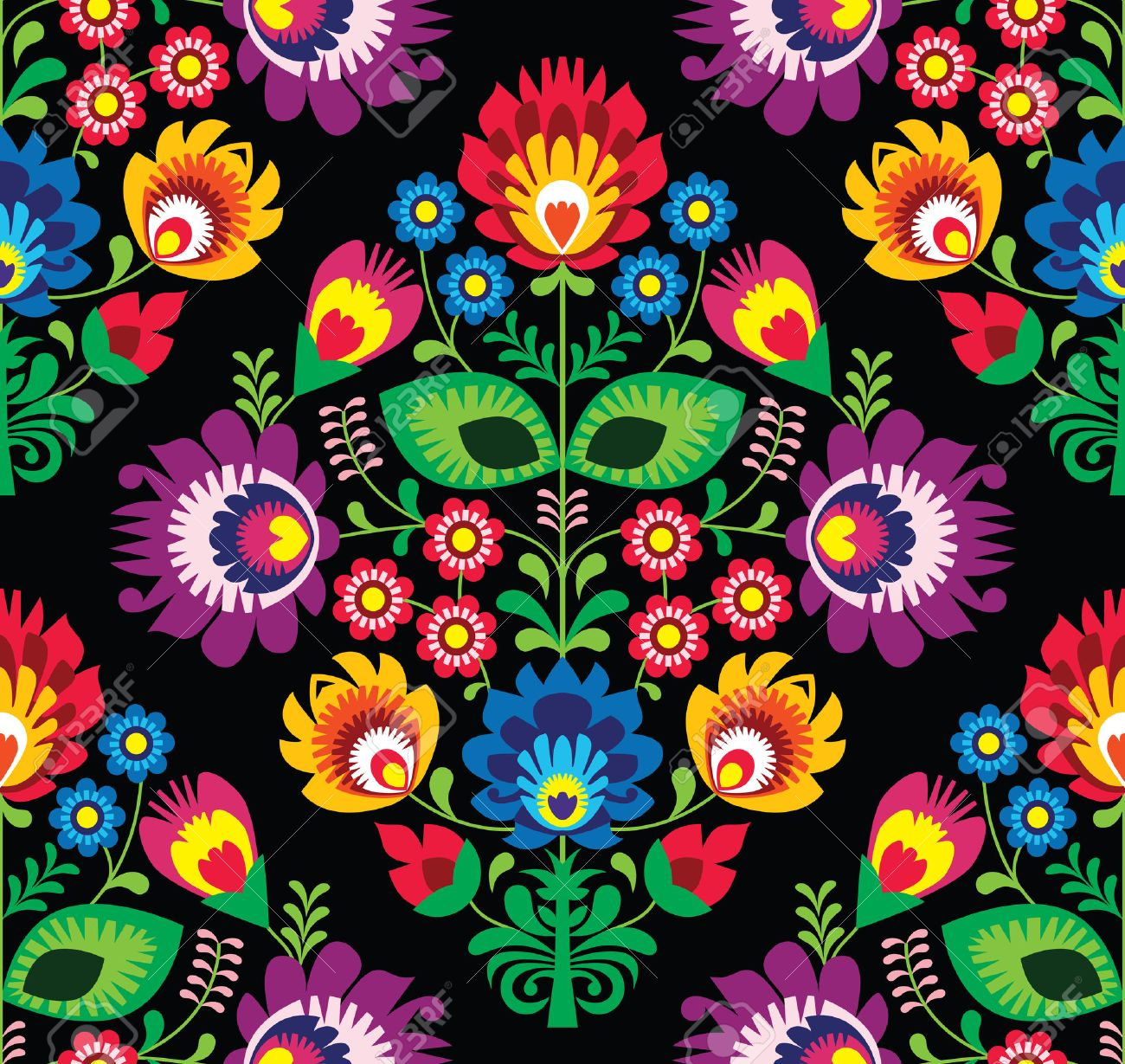 Seamless traditional floral Polish pattern on black - 27736670