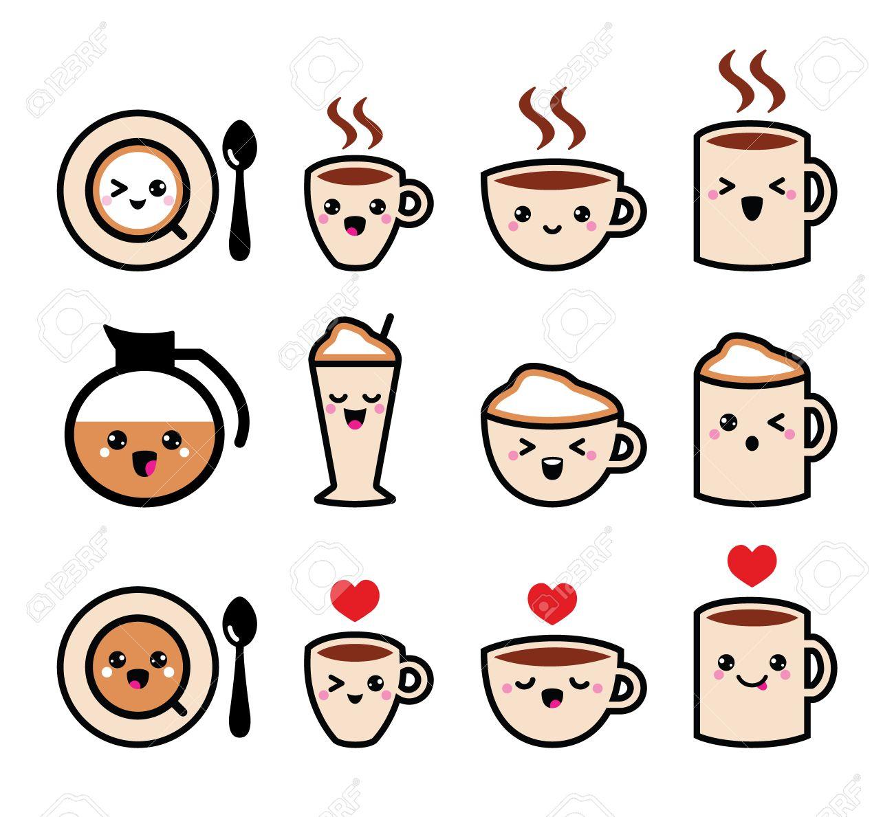 Café lindo, cappuccino y espresso conjunto de iconos kawaii , vector Foto de archivo ,