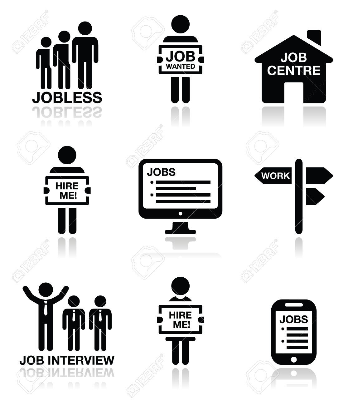 unemployment job searches vector icons set royalty cliparts unemployment job searches vector icons set stock vector 29835088