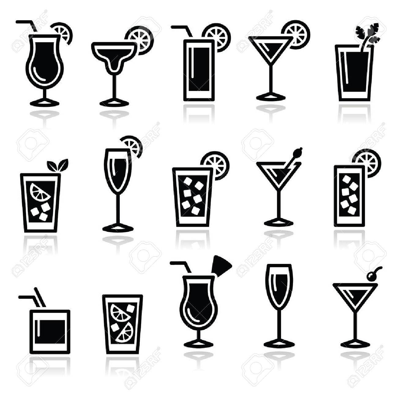 Cocktails, drinks glasses icons set - 31067232