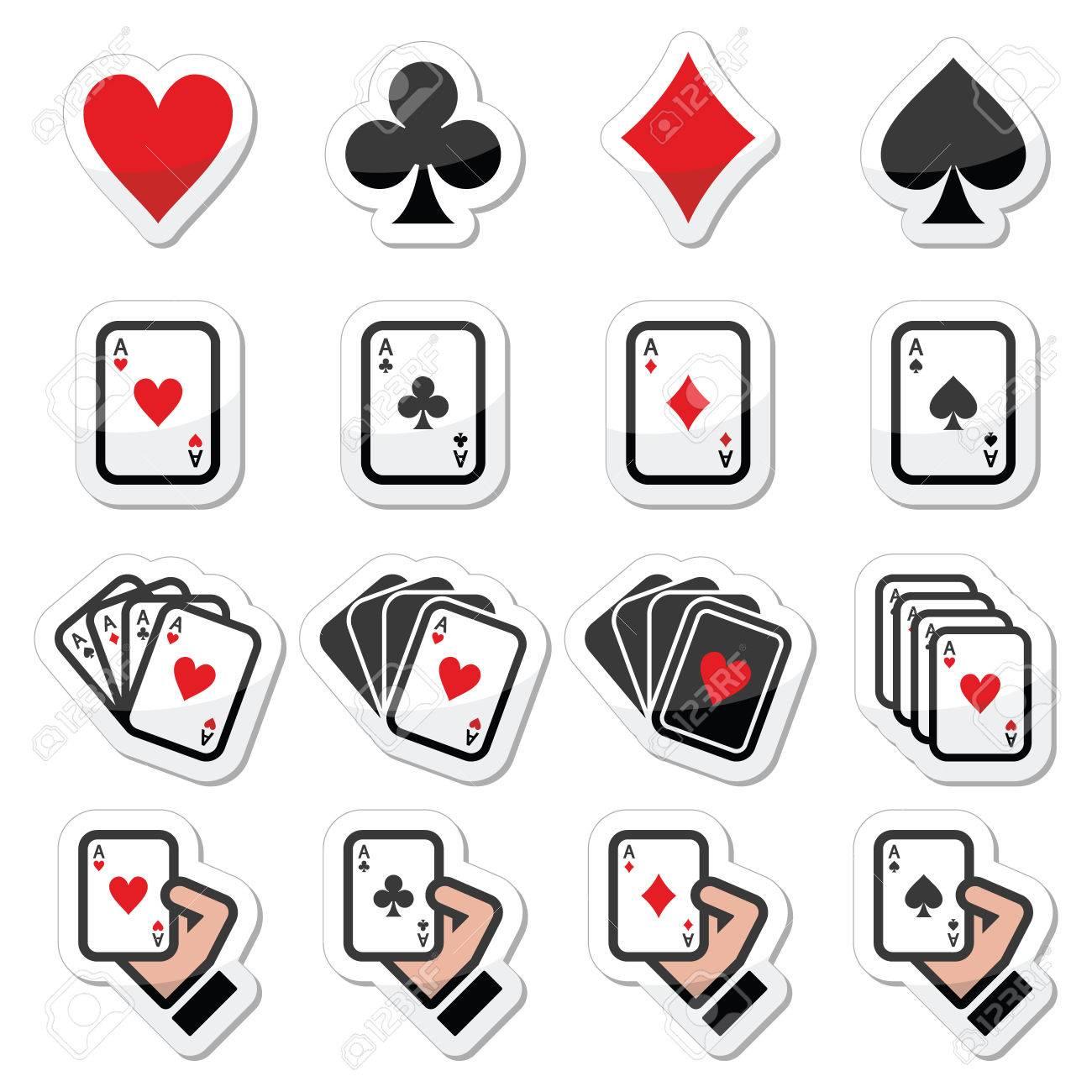 Jugando A Las Cartas Poker Establece Iconos De Juegos De Azar