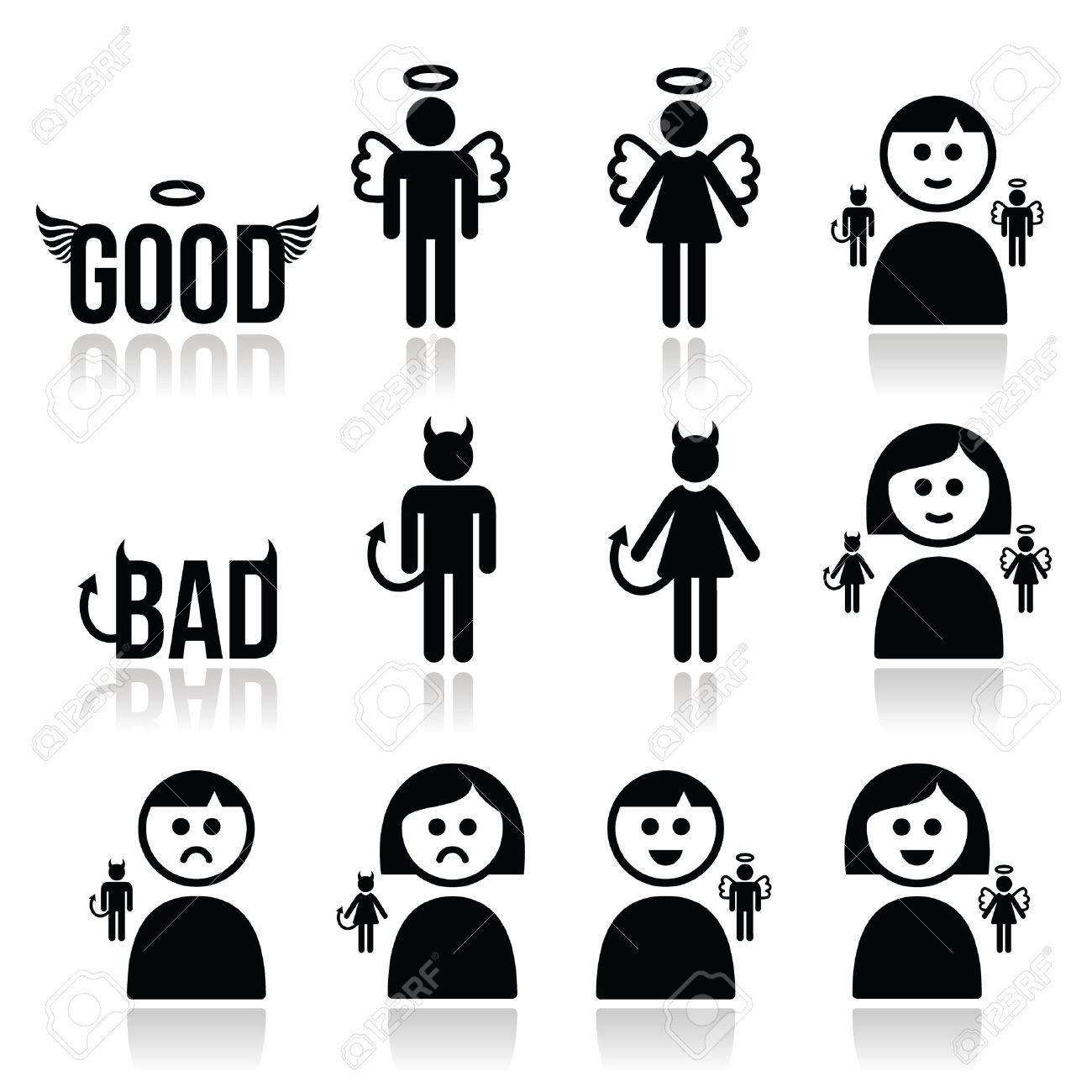 Angel, devil man and woman icon set - 32606499