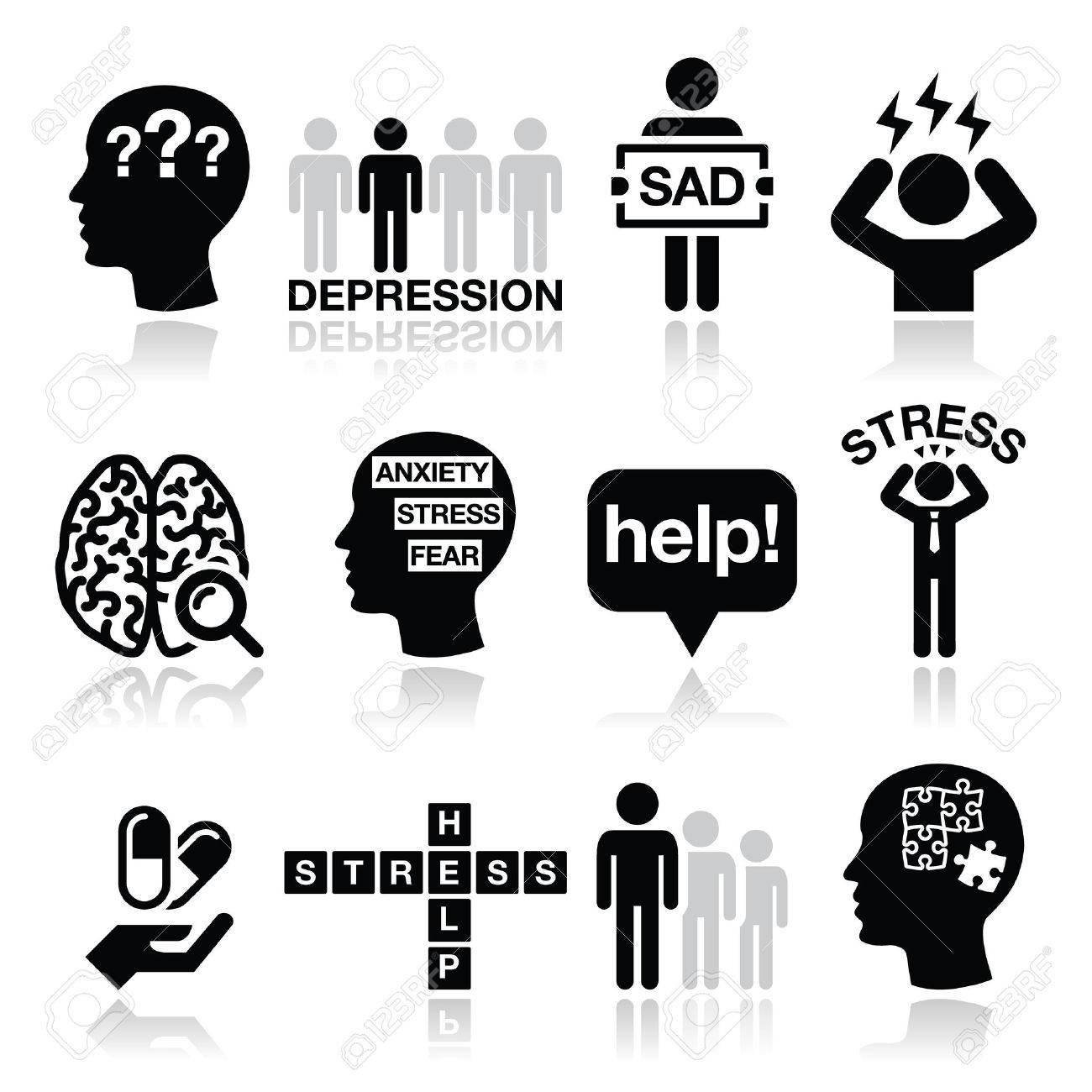 Depression, stress icons set - mental health concept - 33733097