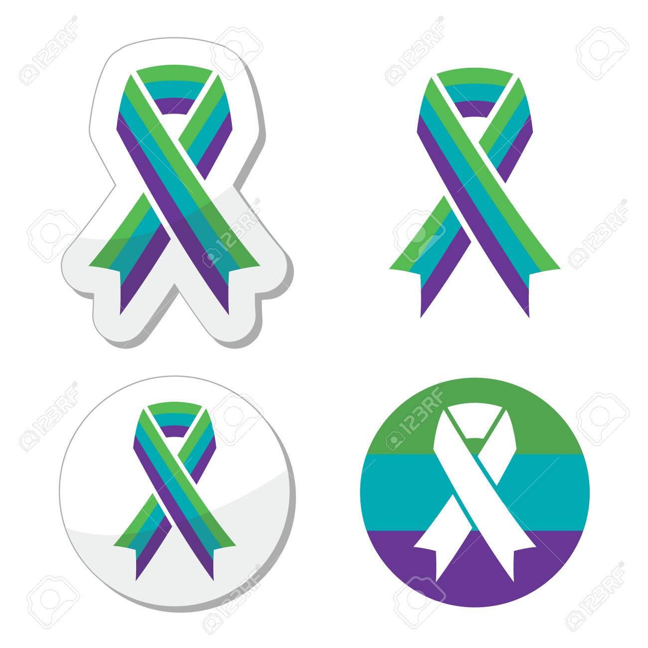 Medullary Sponge Kidney (MSK) awareness ribbon icons set - 35031743