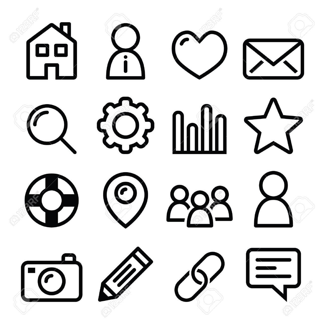 Website Menu Navigation Line Icons Home Search Email Gallery Royalty Free Cliparts Vectors And Stock Illustration Image 35118768