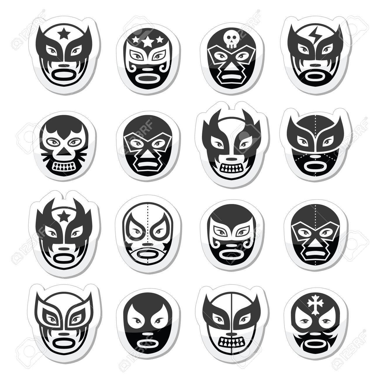 lucha libre luchador mexican wrestling black masks icons royalty