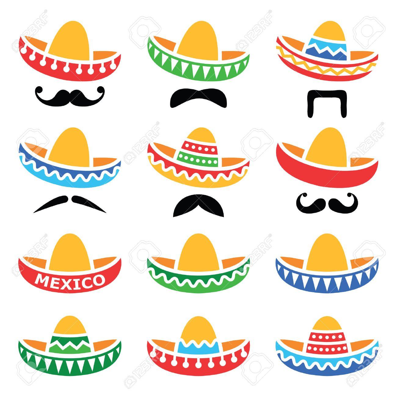 Sombrero mexicano del sombrero con el bigote o bigote iconos Foto de archivo - 36202486
