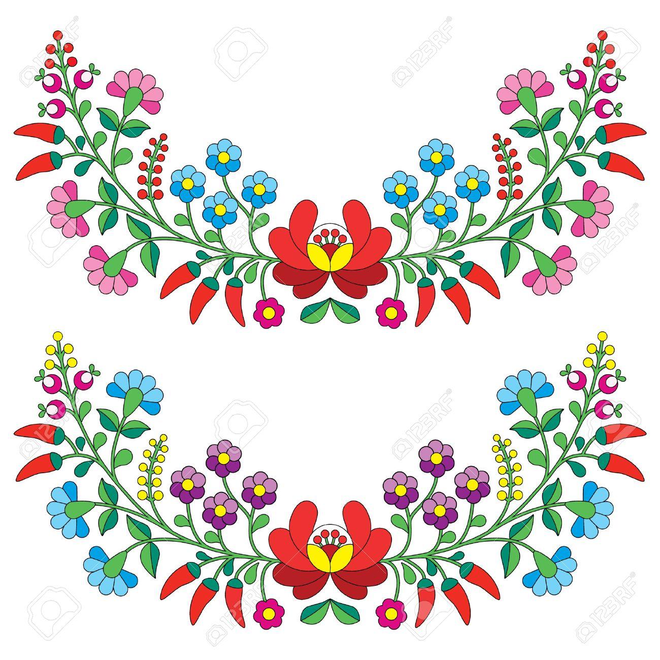 Folk Patrón Floral Húngaro - Bordado Kalocsai Con Flores Y Pimentón ...