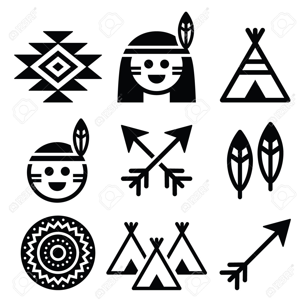 Indian american indigenous people and culture icons set royalty indian american indigenous people and culture icons set stock vector 37695823 biocorpaavc