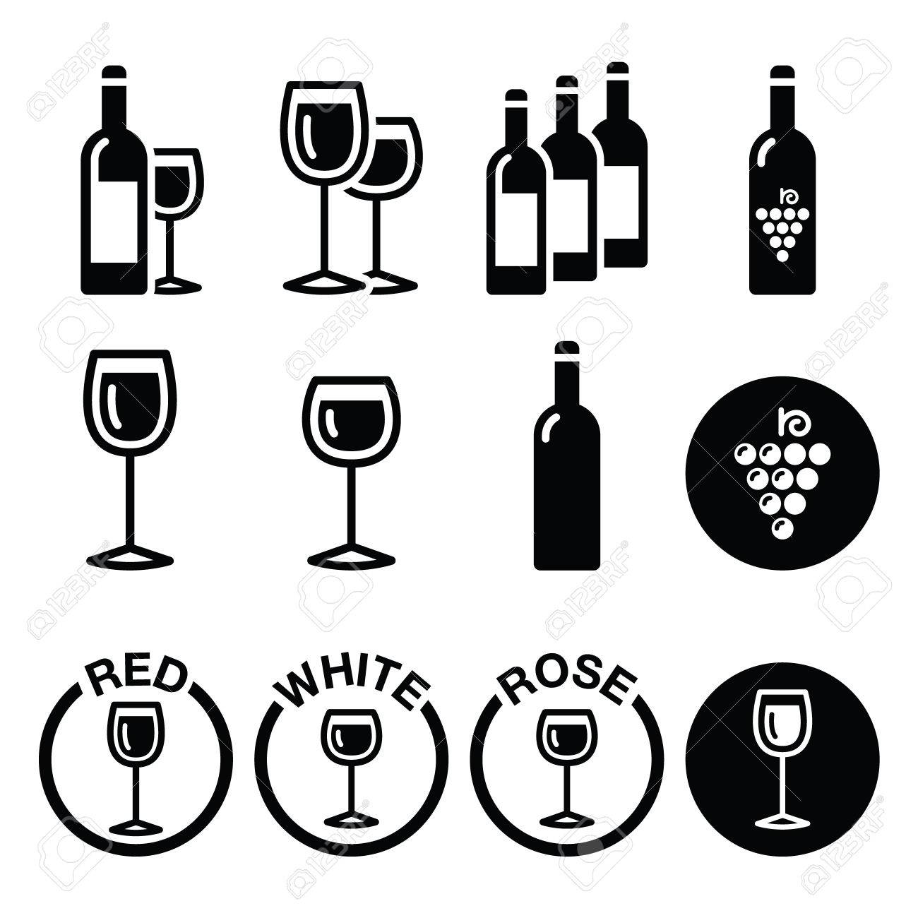 Types de vin rouge, blanc, rosé icons set