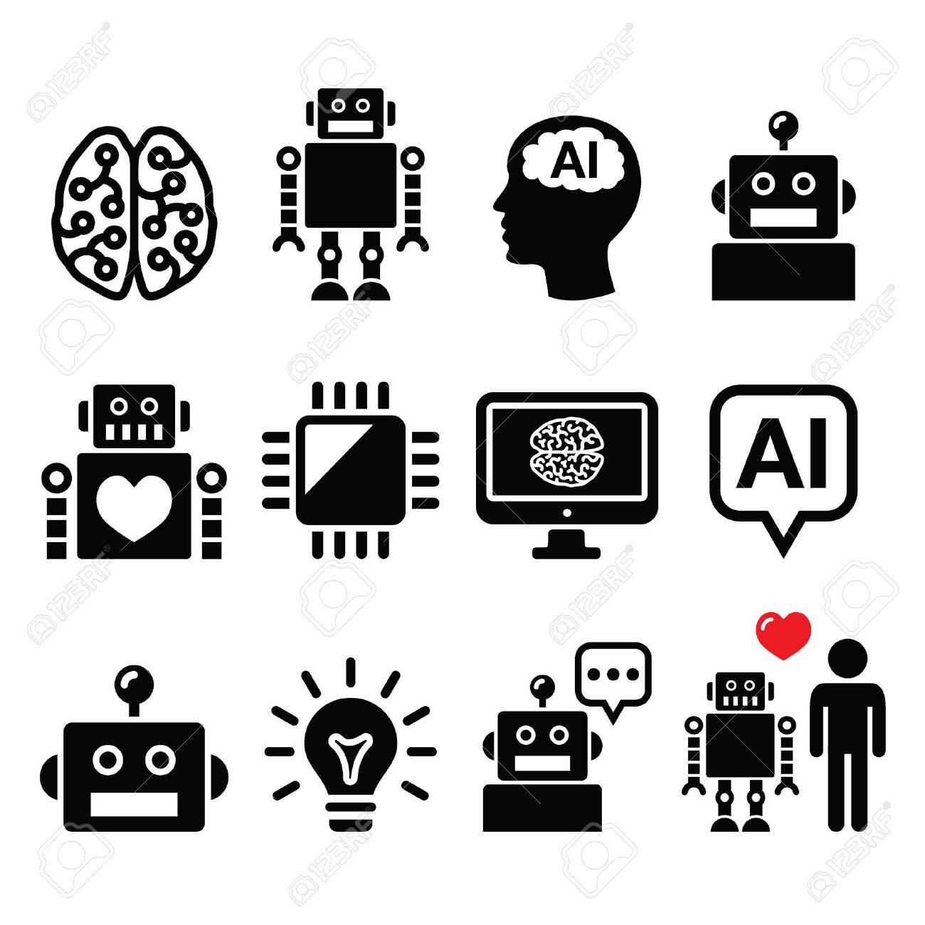 Artificial Intelligence Ai Robot Icons Set Royalty Free Cliparts
