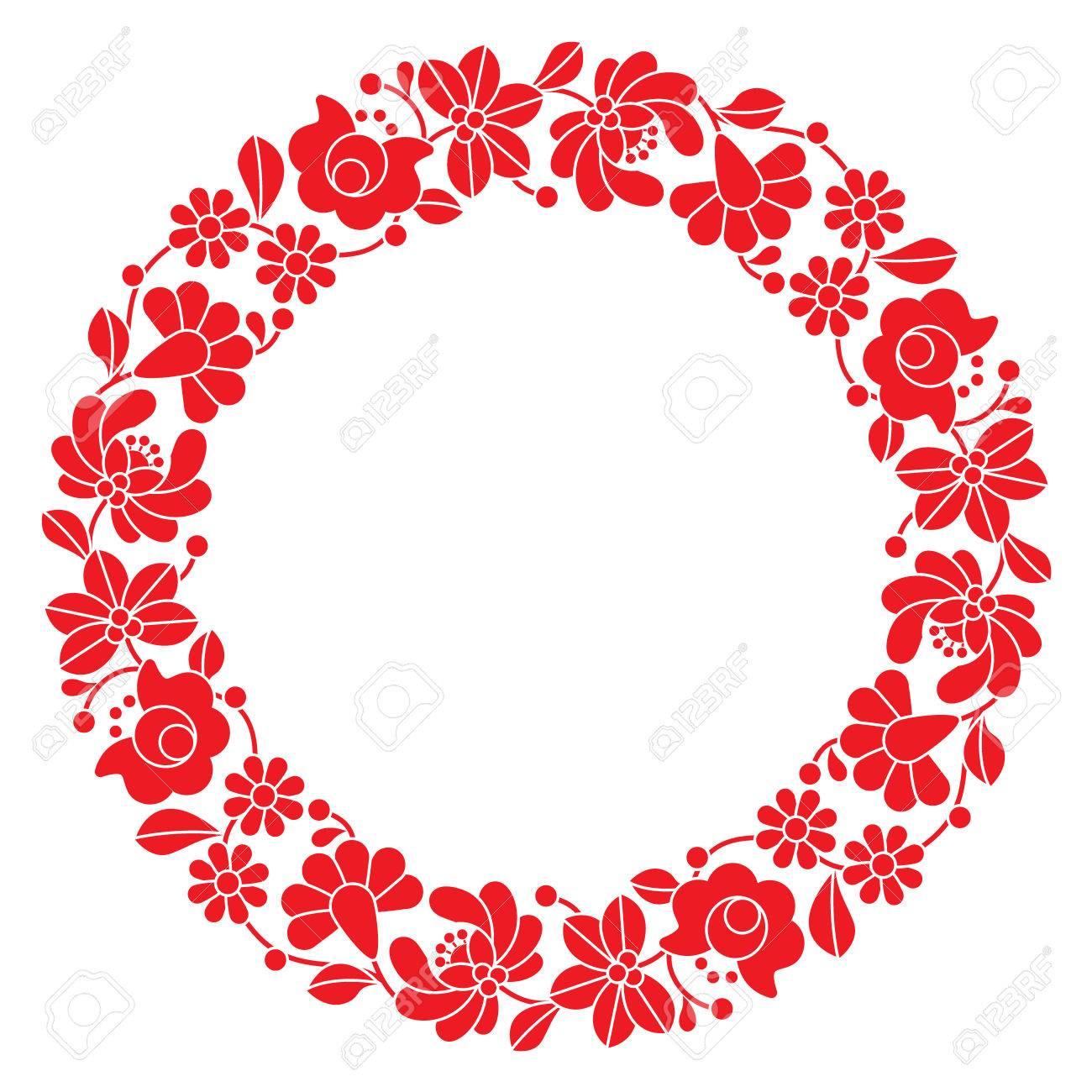 Kalocsai Rojo Bordado En El Círculo - Patrón Floral Popular Húngaro ...
