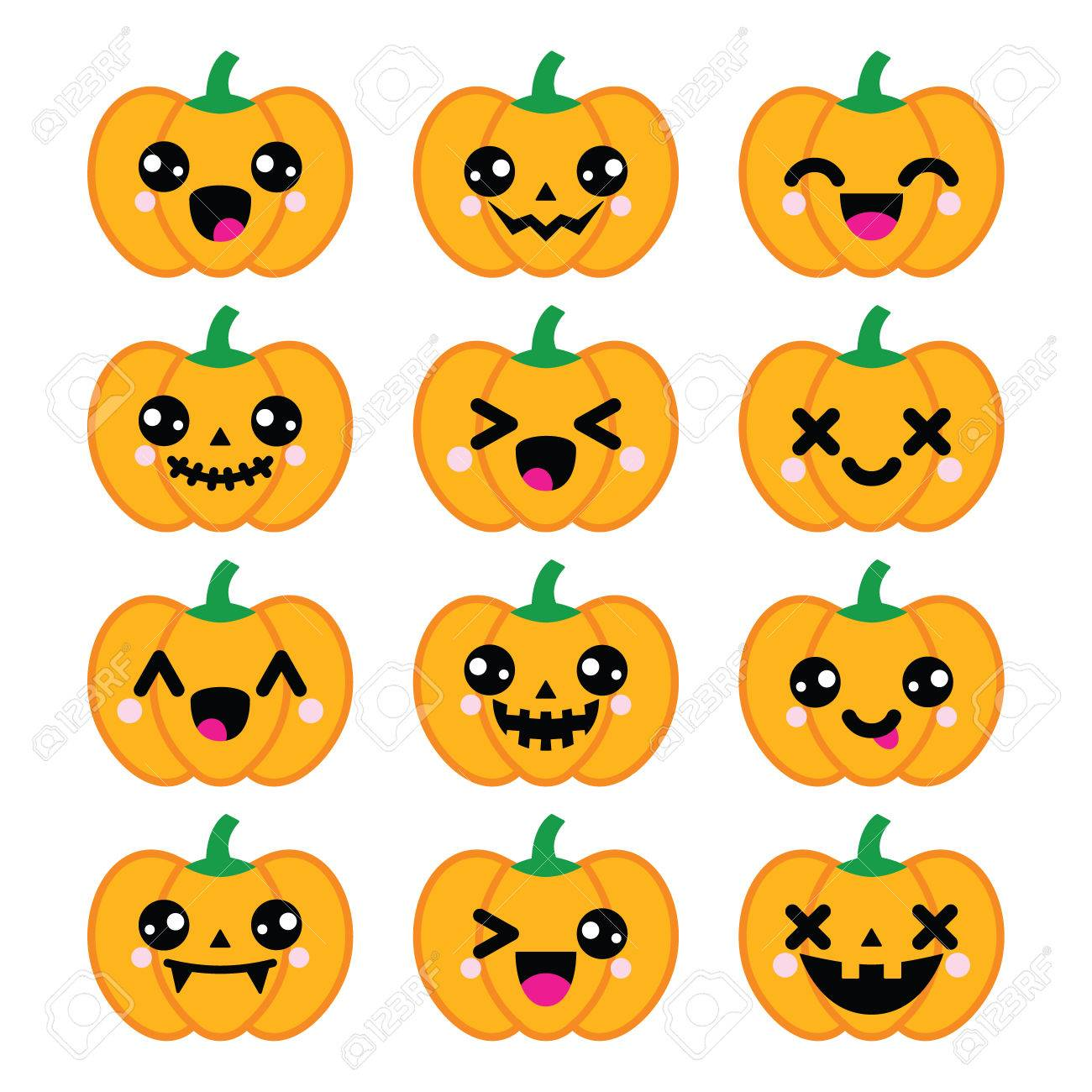 Halloween Kawaii Citrouille Mignon Icones Clip Art Libres De Droits Vecteurs Et Illustration Image 39569004