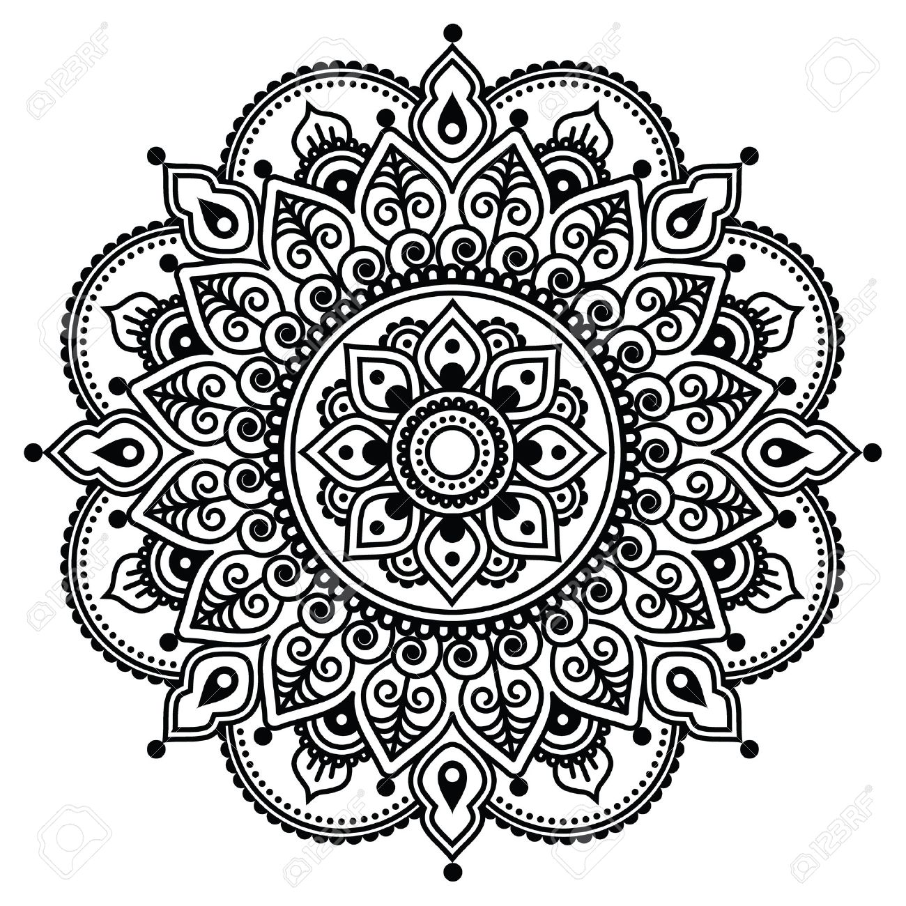 Mehndi Indian Henna Tattoo Pattern Or Background Royalty Free