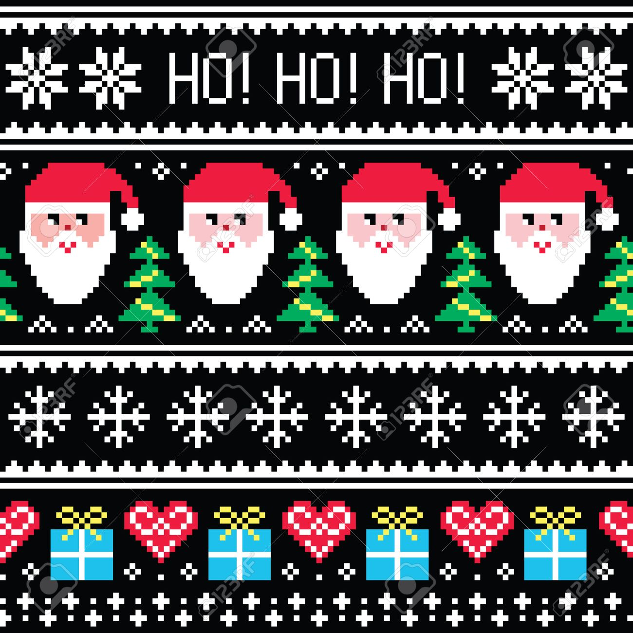 Christmas Jumper Or Sweater Seamless Pattern With Santa And ...