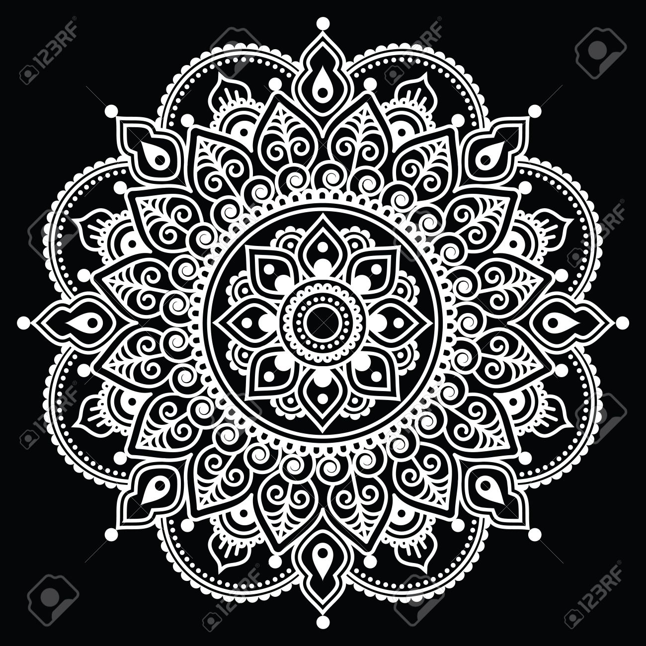 Mehndi Indian Henna Tattoo White Pattern On Black Background