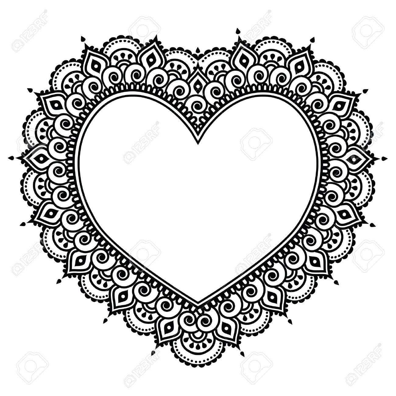 Heart Mehndi design, Indian Henna tattoo pattern - love concept - 45560545